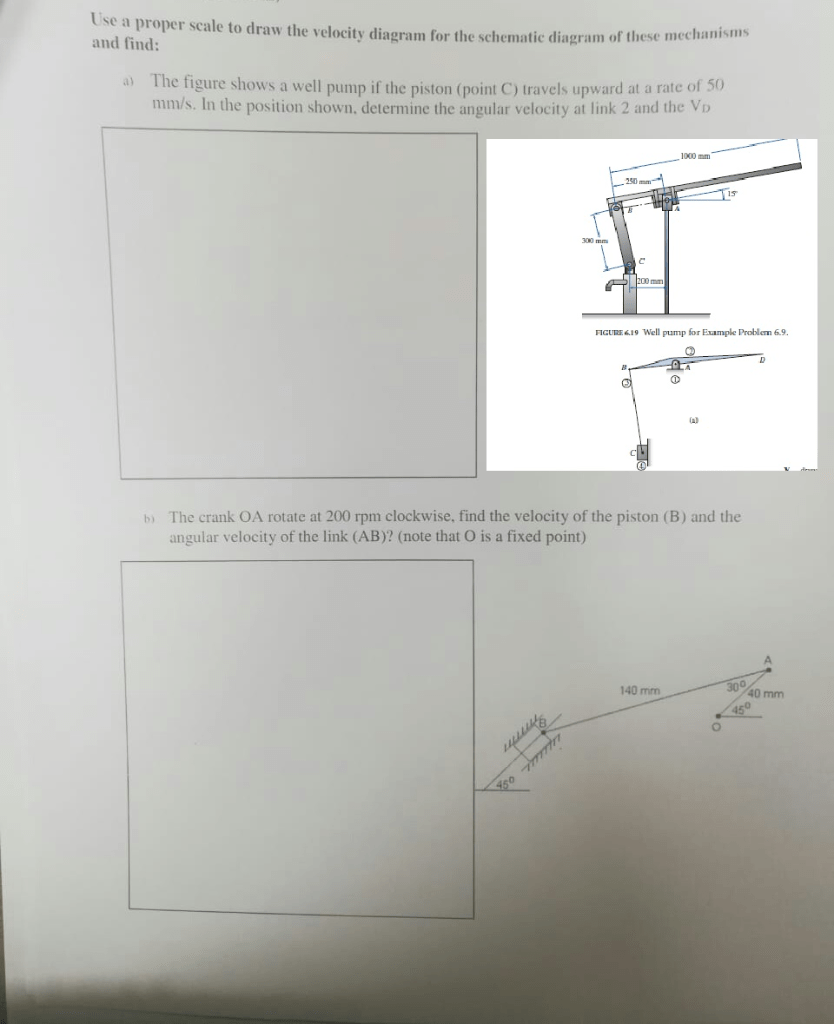 hight resolution of question use a proper scale to draw the velocity diagram for the schematic diagram of these m and find the figure shows a well pump if the piston point