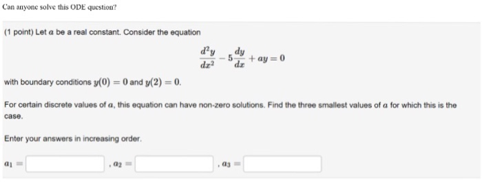 Solved: Let A Be A Real Constant. Consider The Equation D