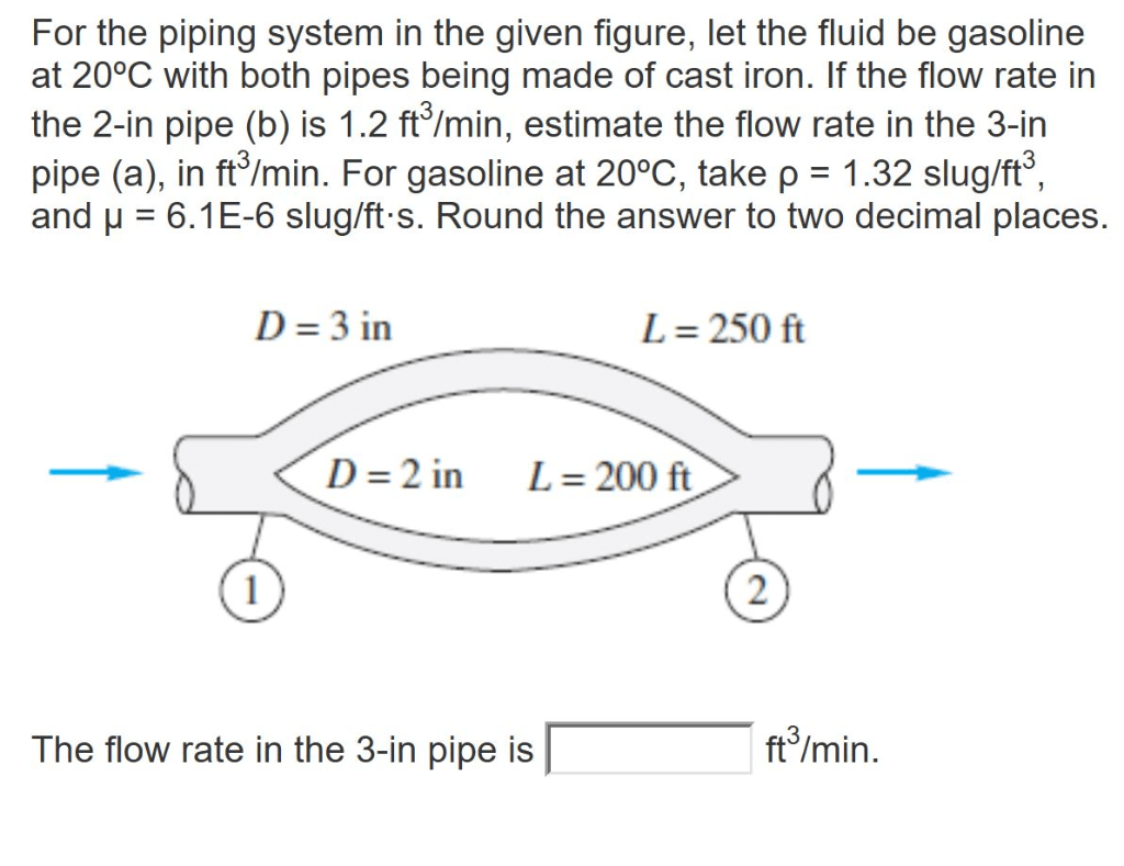 hight resolution of for the piping system in the given figure let the fluid be gasoline at 20