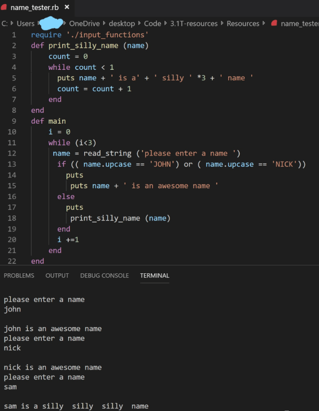 want to write a code similar to the ruby code below  Chegg.com