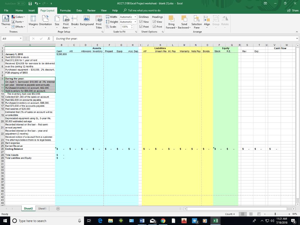 Blank 4 Column Spreadsheet