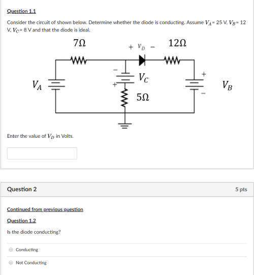 small resolution of question 1 1 consider the circuit of shown below determine whether the diode is conducting