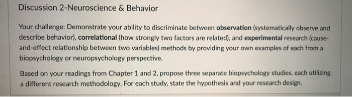Solved Discussion 2 Neuroscience & Behavior Your Challeng