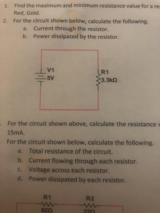 Power For Each Resistor Of The Following Resistors In Series Circuit