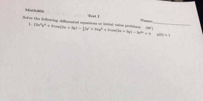 Solved: Solve The Following Differential Equations Or Init