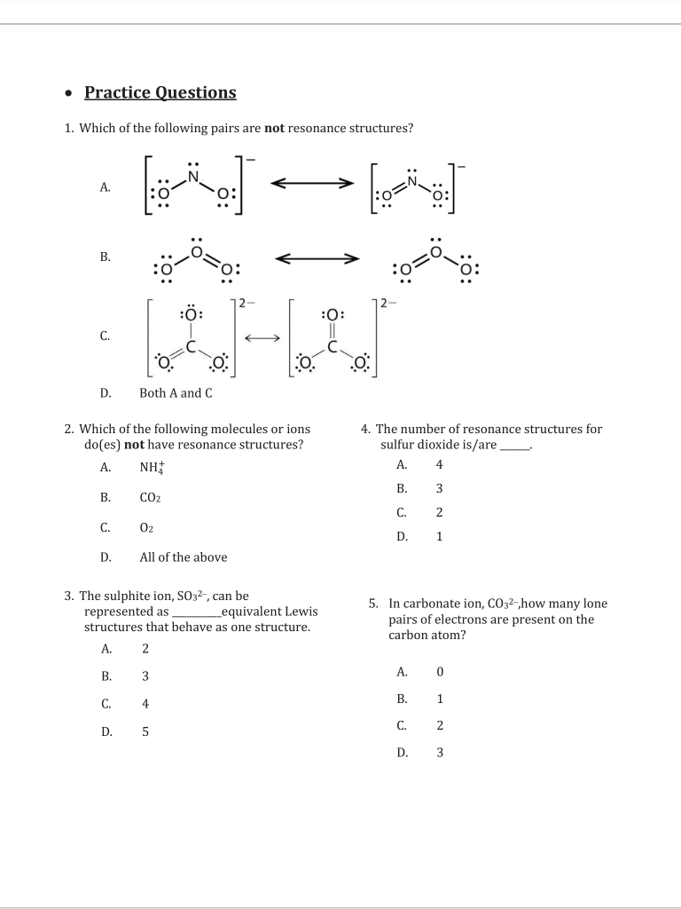 hight resolution of 1 which of the following pairs are not resonance structures