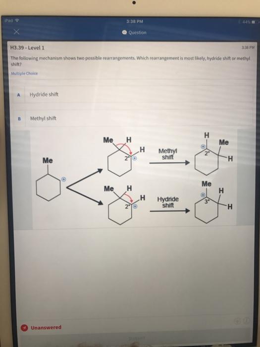 Methyl Shift Vs Hydride Shift : methyl, shift, hydride, Solved:, Question, H3.39, Level, PM..., Chegg.com