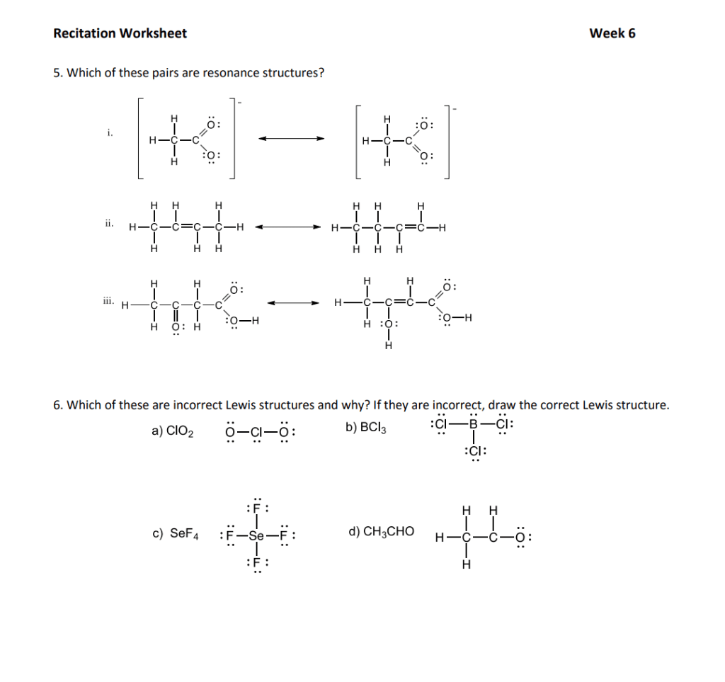 Solved Recitation Worksheet Week 6 5 Which Of These Pair