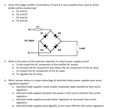 small resolution of given the bridge rectifier circuit below if input a is more positive than