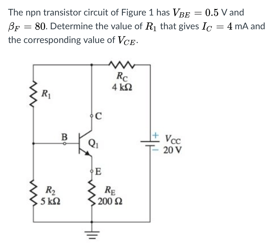 hight resolution of the npn transistor circuit of figure 1 has vbe 0 5 v and bf 80 determine