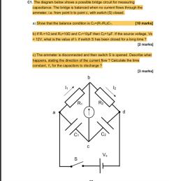 the diagram below shows a possible bridge circuit for measuring capacitance the bridge [ 893 x 1024 Pixel ]