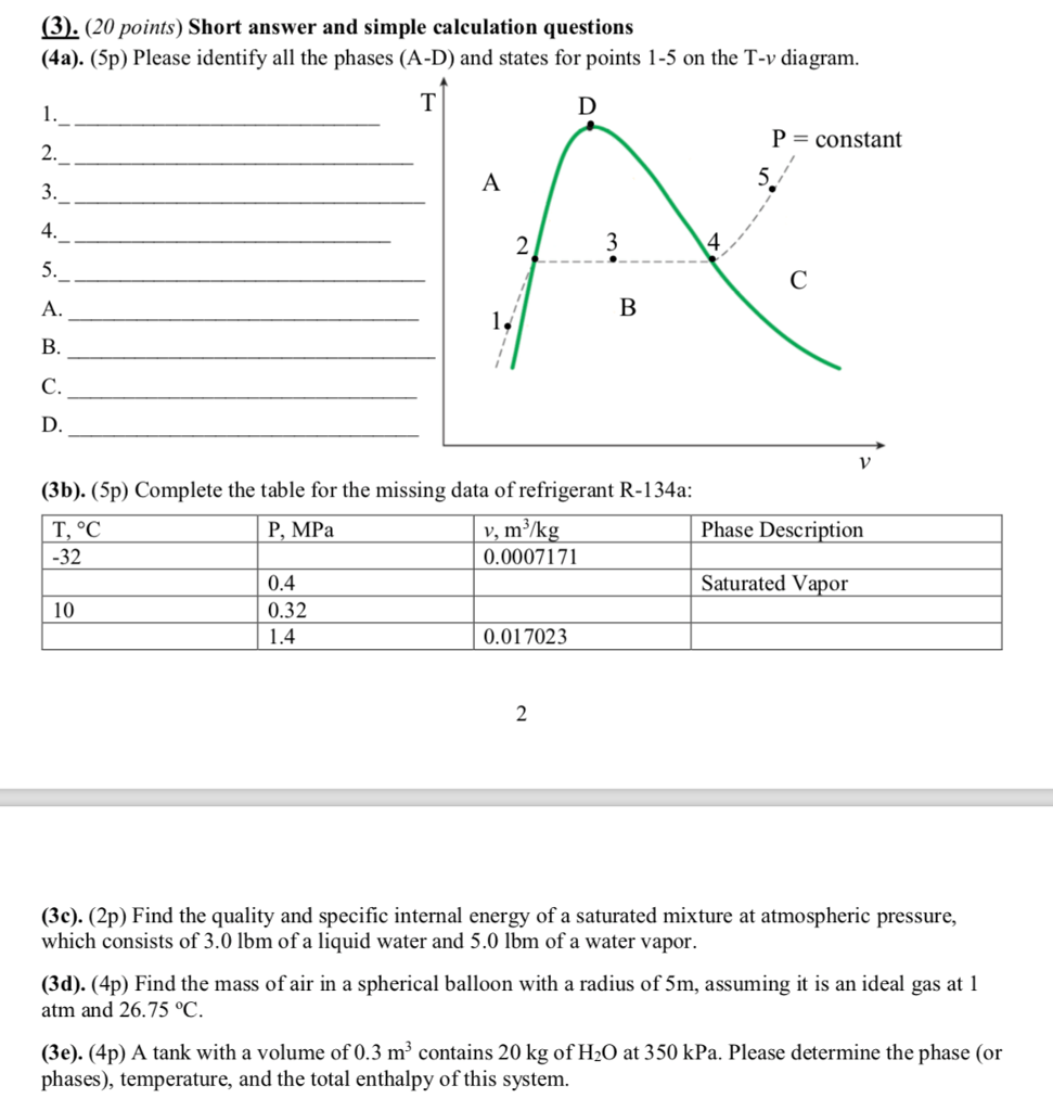 hight resolution of  20 points short answer and simple calculation questions 4a