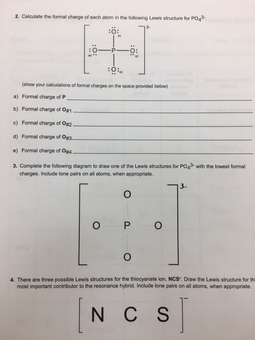 Lewis Structure Po43 : lewis, structure, Solved:, Calculate, Formal, Charge, The..., Chegg.com