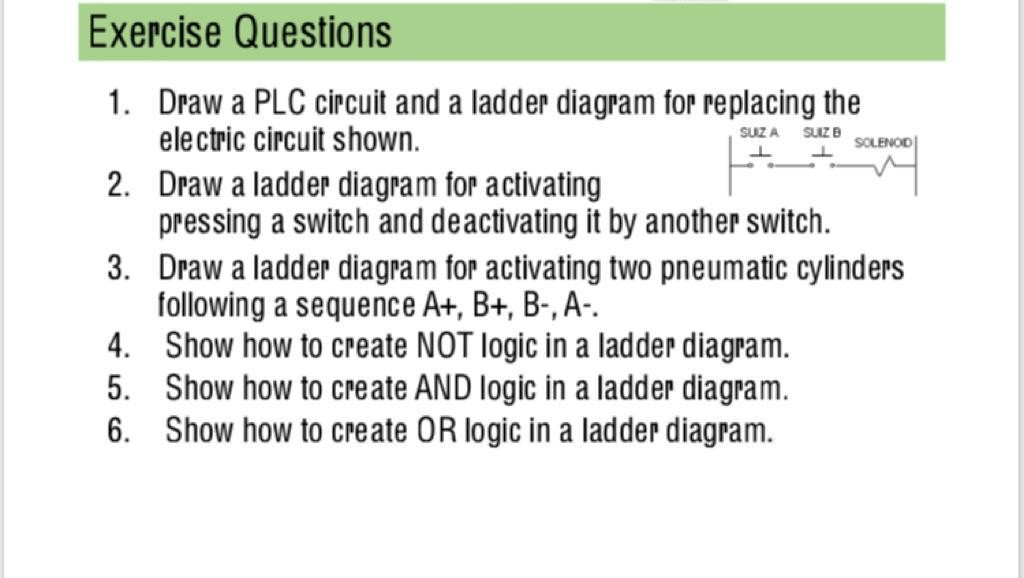 how to draw plc wiring diagram for 7 way plug solved exercise questions 1 2 3 a circuit and ladder