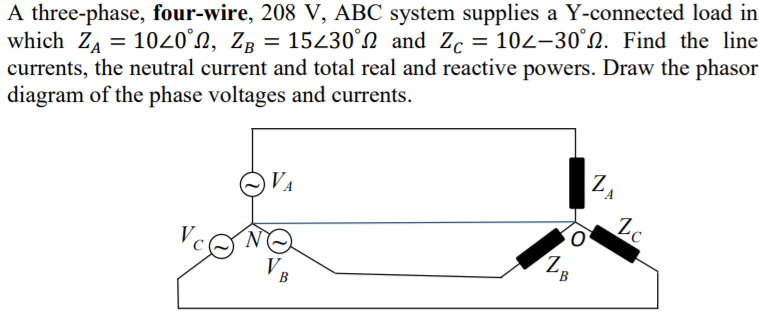 Solved: 2. A Three-phase, Four-wire, 208 V, ABC System Sup