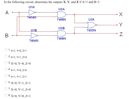 small resolution of in the following circuit determine the outputs x y and z if a