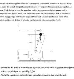 consider the inverted pendulum system shown below the inverted pendulum is mounted on top of [ 1024 x 919 Pixel ]