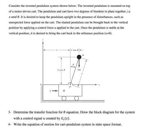 small resolution of consider the inverted pendulum system shown below the inverted pendulum is mounted on top of