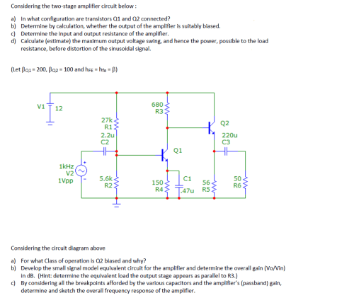 small resolution of considering the two stage amplifier circuit below a b c d
