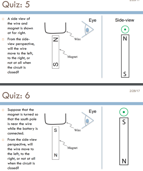 small resolution of question quiz 5 a side view of side view eye the wire and magnet is shown at far right n from the side wire view perspective will the wire move to the