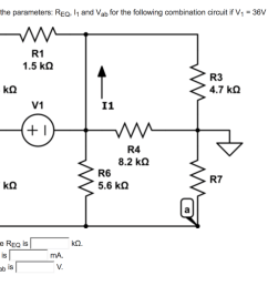 calculate the parameters req 1 and vab for the following combination circuit if v1 [ 1024 x 779 Pixel ]