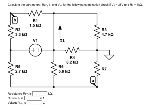 small resolution of calculate the parameters req 1 and vab for the following combination circuit if v1
