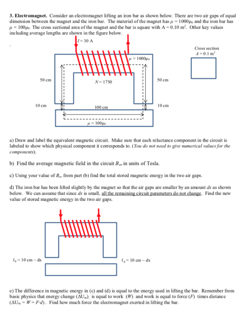 small resolution of 3 electromagnet consider an electromagnet lifting an iron bar as shown below there