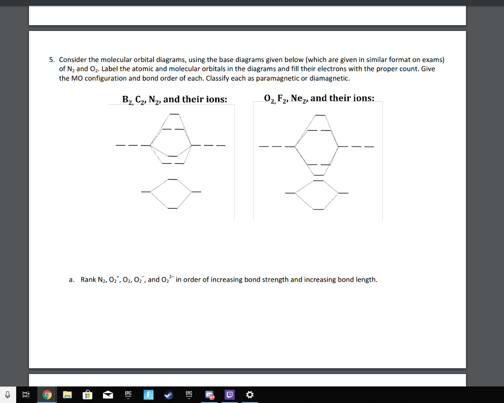 hight resolution of consider the molecular orbital diagrams using the base diagrams given below which