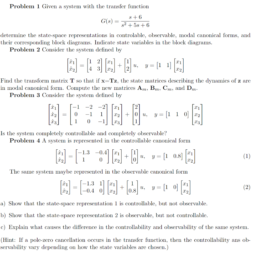 hight resolution of problem 1 given a system with the transfer function g s determine the state