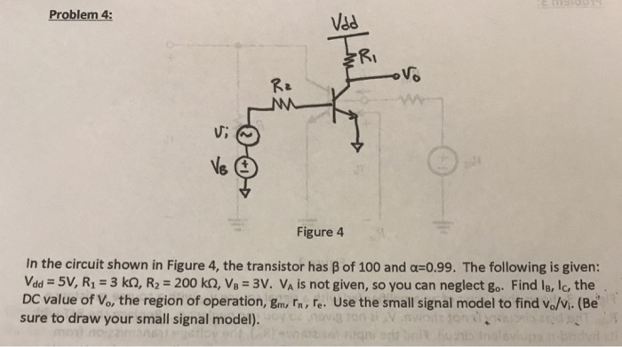 Problem On Bjt Small Signal Amplifier Circuit