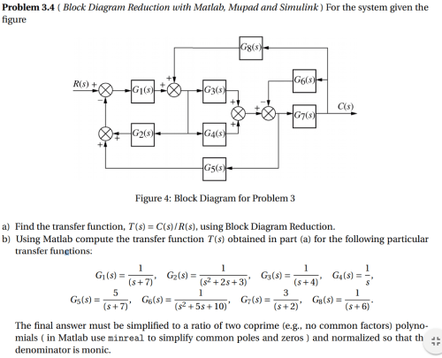 small resolution of problem 3 4 block diagram reduction with matlab mupad and simulink for the system