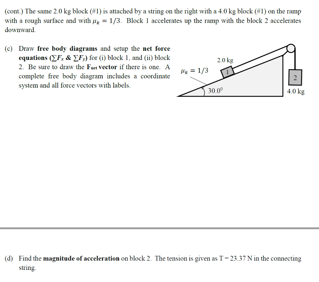 hight resolution of question cont the same 2 0 kg block 1 is attached by a string on the right with a 4 0 kg block 1