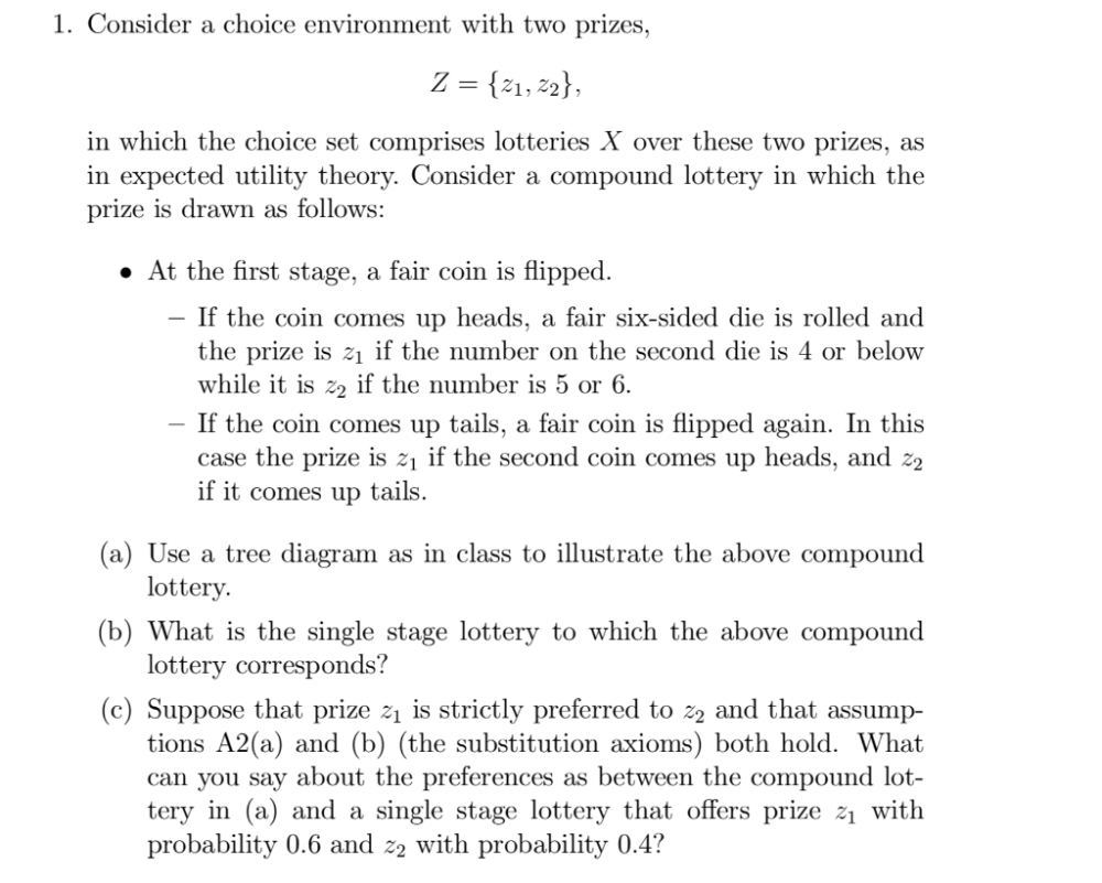 medium resolution of 1 consider a choice environment with two prizes in which the choice set comprises