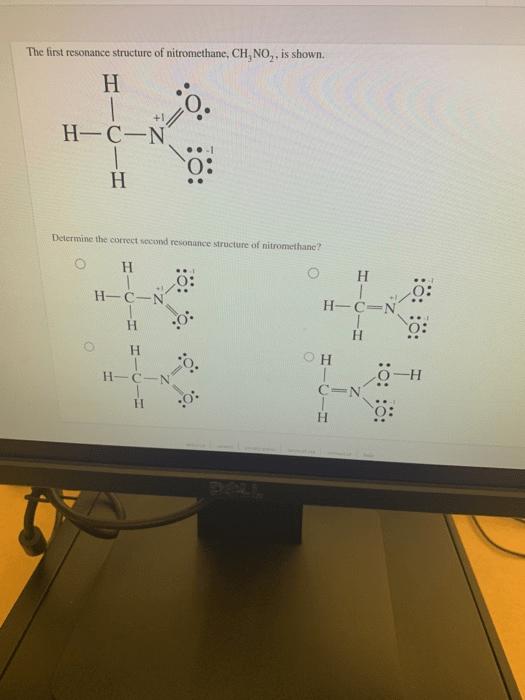 No2- Resonance Structure : resonance, structure, Solved:, First, Resonance, Structure, Nitromethane,, CH,..., Chegg.com