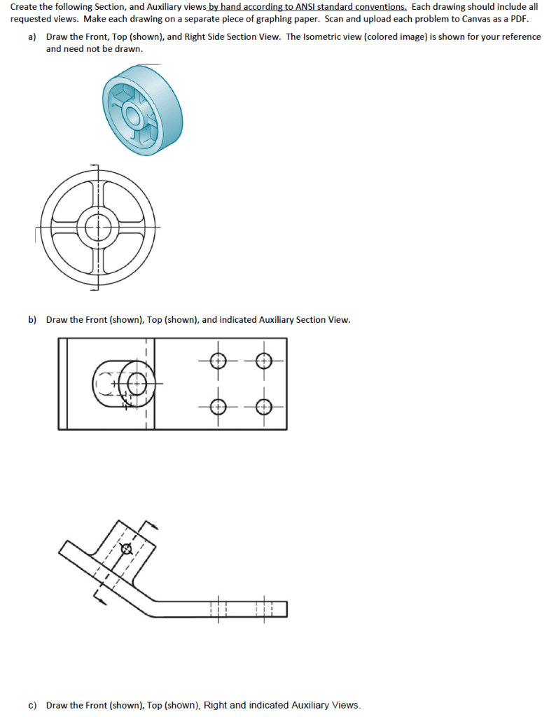 Solved: Create The Following Section, And Auxiliary Views