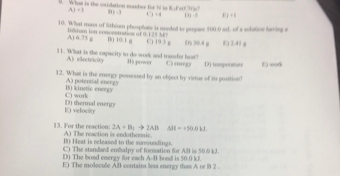 Solved: What Is The Oxidation Number For N In K_3Fe(CN)_6