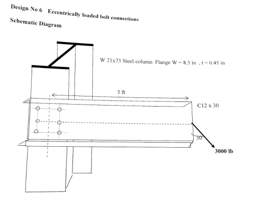 small resolution of design no 6 eccentrically loaded bolt co schematic diagram 0 45 in w 21x73 steel column flange