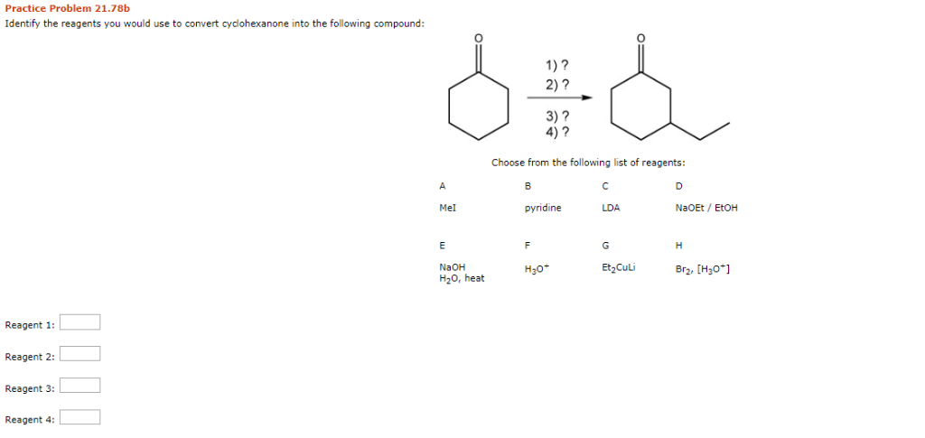 Solved: Practice Problem 21.78b Identify The Reagents You