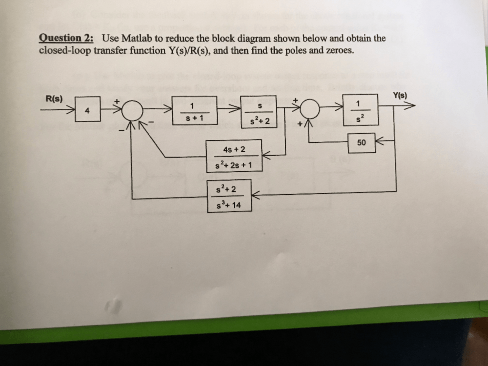 medium resolution of question 2 use matlab to reduce the block diagram shown below and obtain the closed