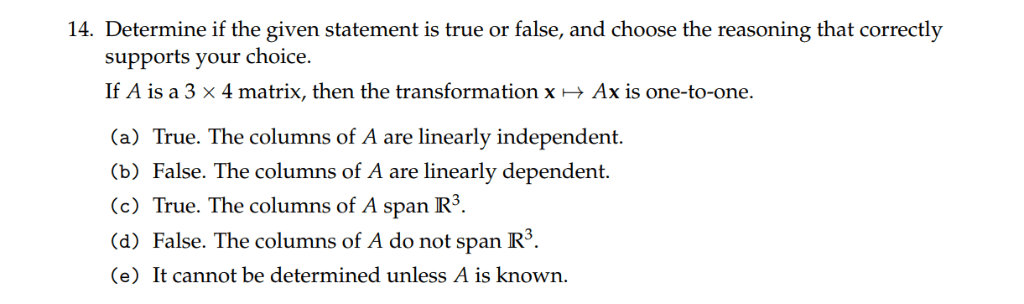 Solved: 14. Determine If The Given Statement Is True Or Fa... | Chegg.com