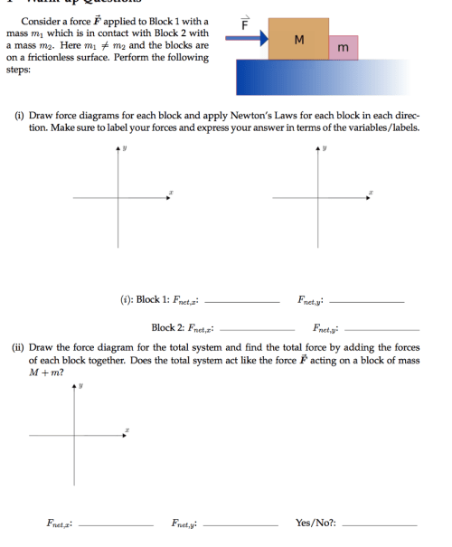 small resolution of consider a force f applied to block 1 with a mass m1 which is in contact