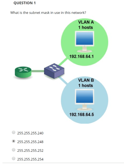 small resolution of question 1 what is the subnet mask in use in this network vlan a 1
