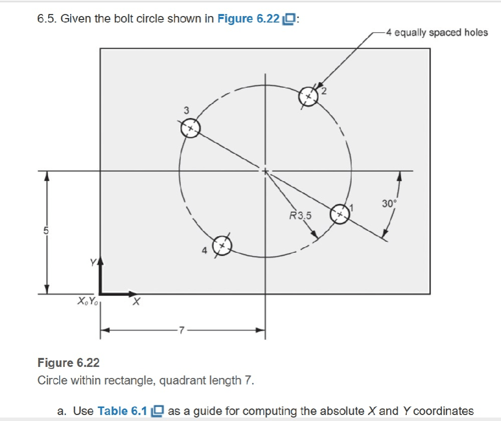 medium resolution of given the bolt circle shown in figure 6 22 4 equally spaced holes 2 30