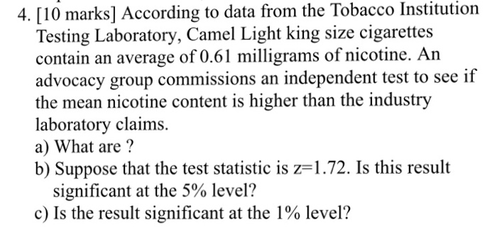 Solved: According To Data From The Tobacco Institution Tes
