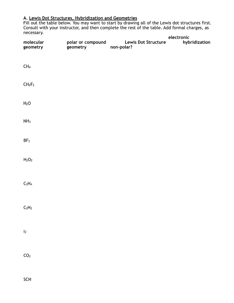 hight resolution of a lewis dot structures hybridization and geometries fill out the table below you