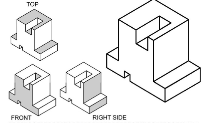 Solved: Orthographic Projection: Draw The 3 Standard Views
