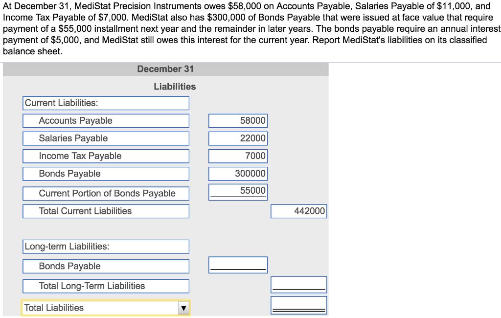 Solved: At December 31, MediStat Precision Instruments Owe...   Chegg.com