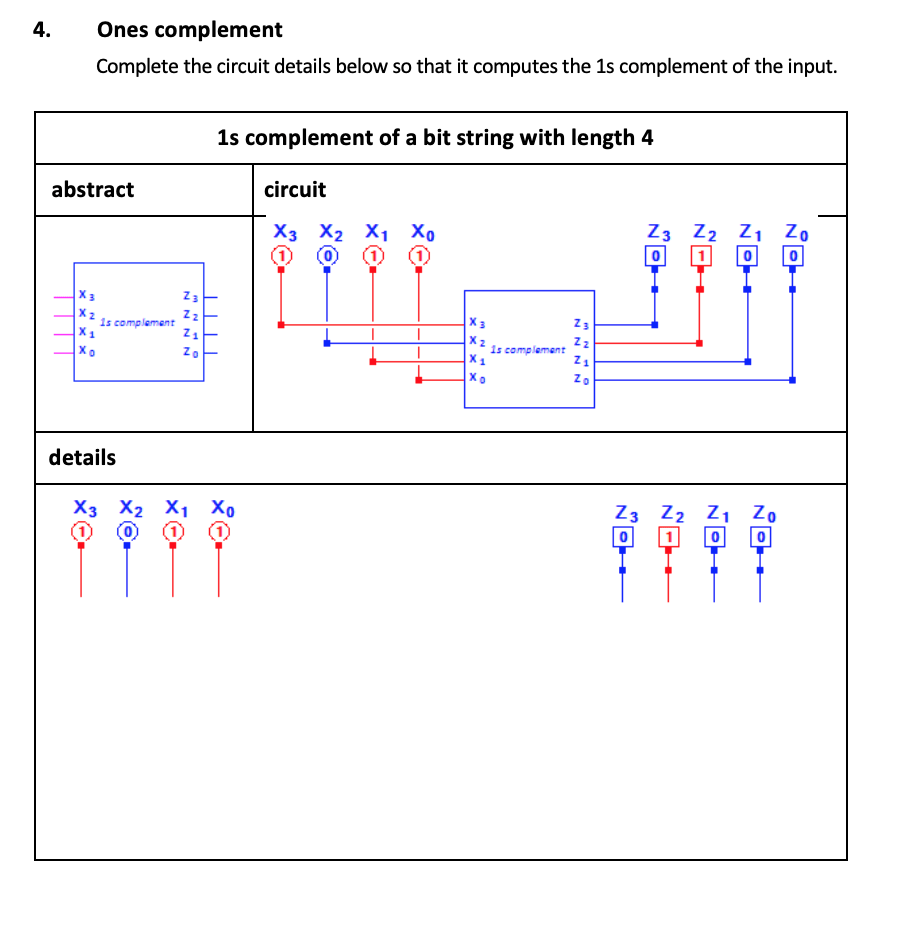 medium resolution of solved 4 ones complement complete the circuit details bel 1s complement circuit diagram