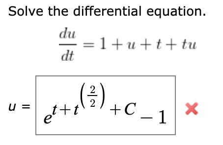 Solved: Solve The Differential Equation. (Use C For Any Ne