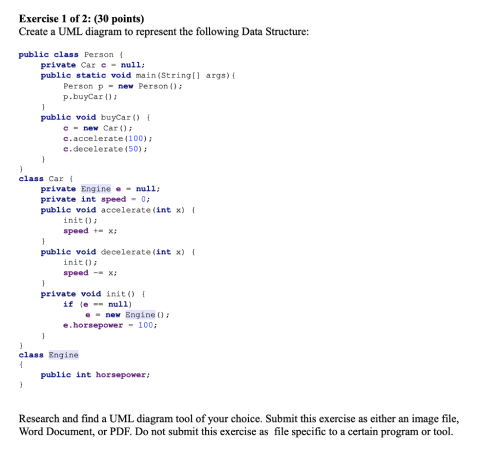 small resolution of exercise 1 of 2 30 points create a uml diagram to represent the